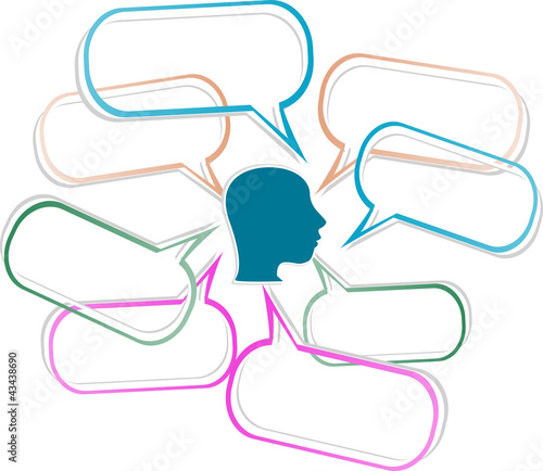 human head silhouette with emanating from it speech bubbles