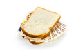 Slices of bread with euro banknotes sandwich filling