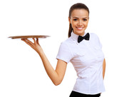 Fototapety Young waitress in a white blouse
