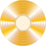 gold vinyl record on white background
