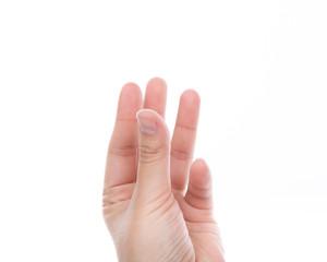 Women hand  holding something isolated on white background