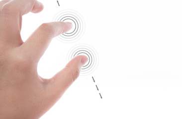 Women hand use  multi-touch gestures for tablets or touch screen