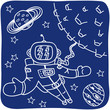 Drawing of an astronaut and planets
