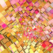 abstract fragmented cube pattern pink orange yellow backdrop