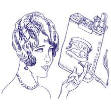 Dziewczyna z paczki papierosów - rysunek ręki - oryginalny szkic