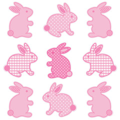 Baby Bunny Rabbits in pastel pink gingham and polka dots