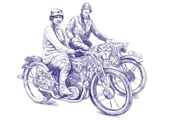 women on a motorcycle - Hand drawing - This is original sketch