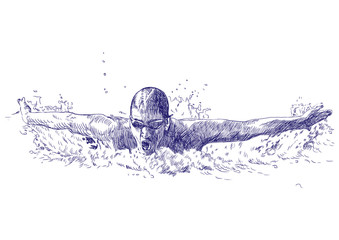 Swimmer, butterfly - hand drawing - This is original sketch