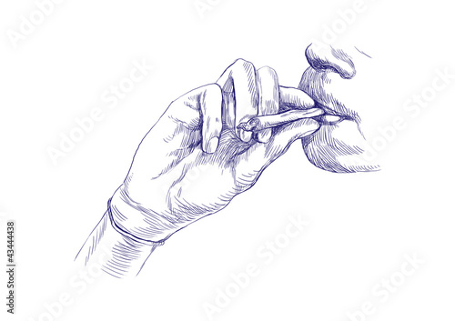 Smoking marijuana joint - Hand drawing - This is original sketch