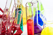 Laboratory glassware with various colored liquids