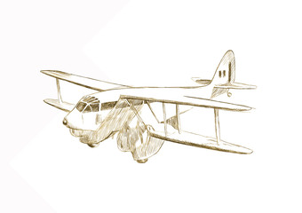 Biplane aircraft - Hand drawing picture converted into vector