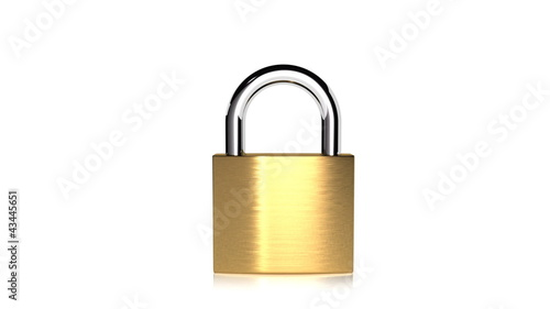 A brass padlock opening and closing.