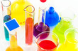 Chemical flasks with color liquids