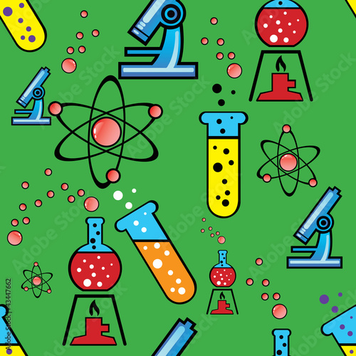 seamless background with objects of chemistry