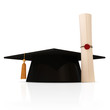 Graduation Cap and Diploma isolated on white background