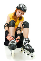 beautiful young woman on roller skates