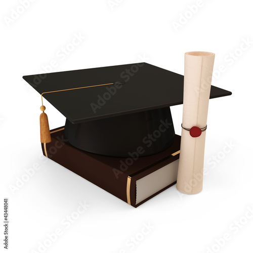 Graduation Cap with Diploma and Book on white background
