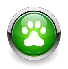 Animal paw print web green button