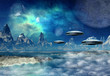 Alien Planet with Space Ships