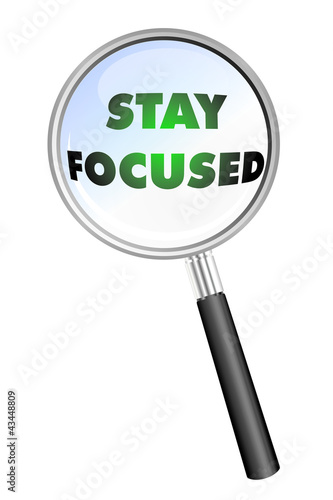 STAY FOCUSED MAGNIFYING GLASS cloud sphere ball words