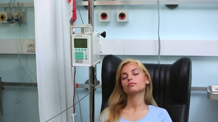 Transfused patient asleep