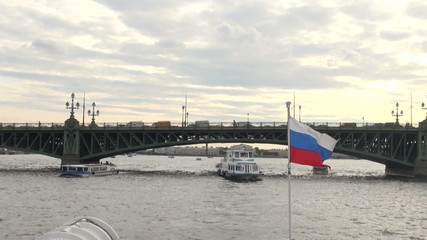 The Russian flag on the boat
