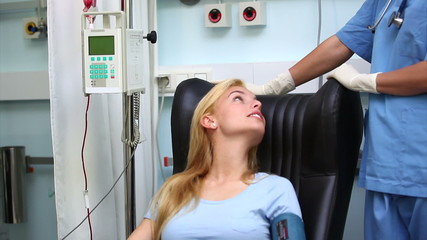 Female patient looking at a nurse
