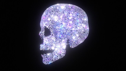 A skull made from diamonds. Loops.