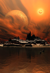 Alien Planet with a Moon and Sun