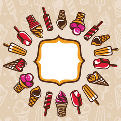 vector frame with ice cream