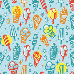 Vector seamless pattern with cartoon  ice cream