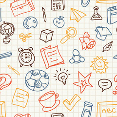 seamless pattern with education and school icons