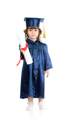 Adorable kid girl in academician clothes with roll