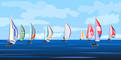 Vector illustration of sailing yacht regatta.