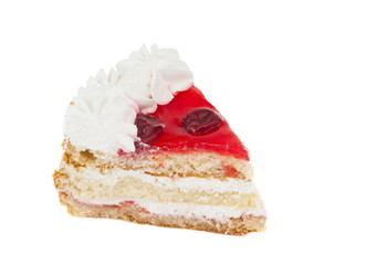 piece of cake with cherries isolated