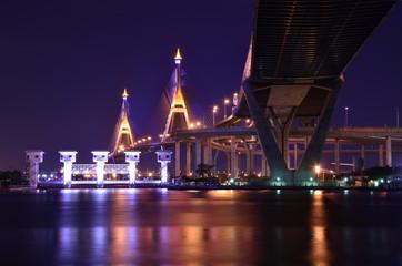 Bridge at night in Bangkok