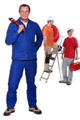 Manual worker with step ladder