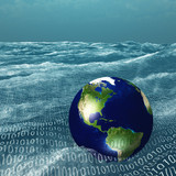 Earth floats in vast sea of binary code poster