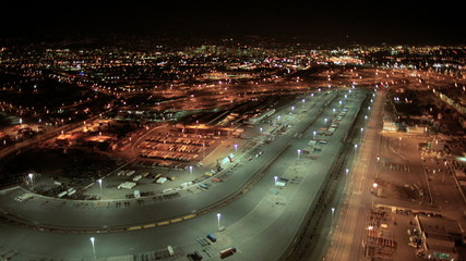 Aerial night view, Port of Oakland, San Francisco, America