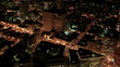 Aerial night illuminated view of city streets, America