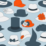 Hats and caps seamless pattern, vector