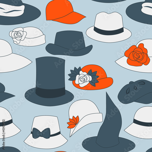 Hats and caps seamless pattern, vector - 43456012