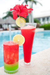 Cocktails on the edge of the pool