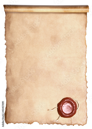 Old paper with wax seal