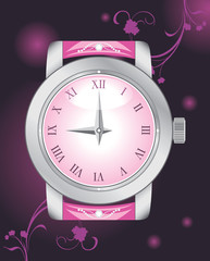 Female elegant watch on the dark background
