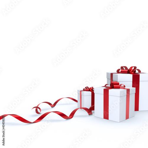 Geschenkboxen mit rotem Band
