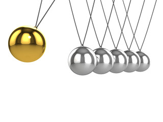 3d Newtons cradle gold ball hits silver