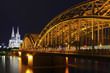 Cologne - Cathedral with Hohenzollern bridge at Night