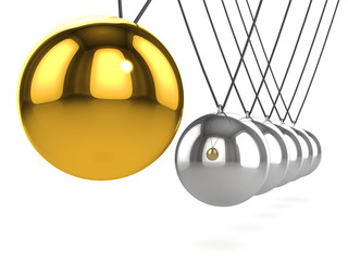 3d Newtons cradle gold ball swings towards silver