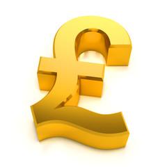 3d Gold Pound Symbol